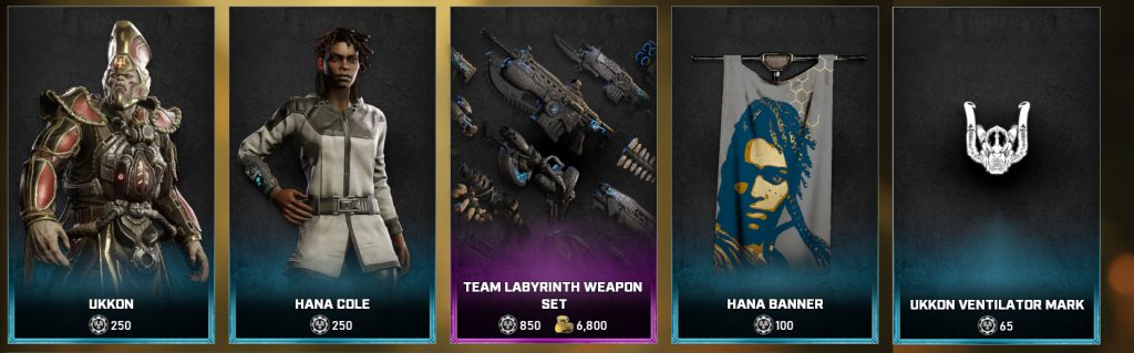 The new items in the Gears store for the days between May 18 and 24
