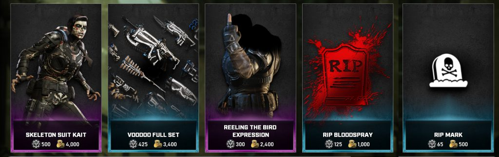 The featured items in the Gears store for the days between May 4 to 10