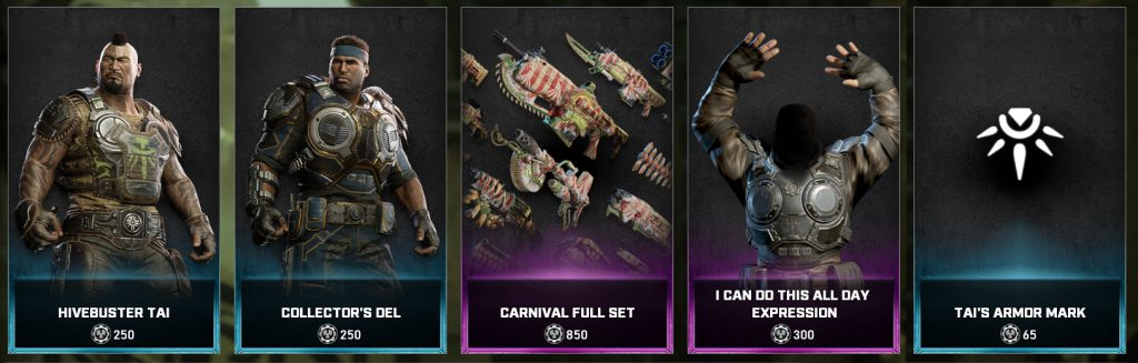 The new items in the Gears store for the days between May 4 to 10