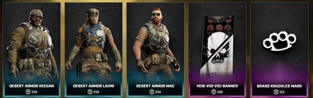 The new items in the Gears store for the days between May 25 and 31