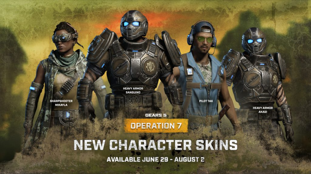 Some of the new character skins for Operation 7 Drop 2 including Sharpshooter Mikalya, Heavy Armor Sanguino, Pilot Tak, and Heavy Armor Akagi.