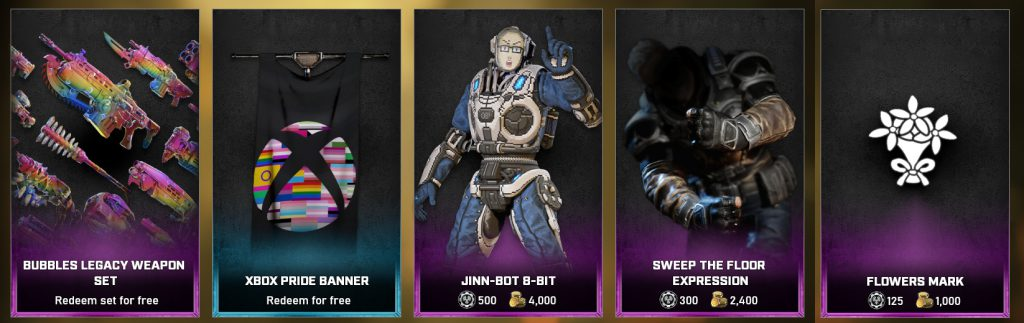 The featured items in the Gears store for the days between June 15 - 22