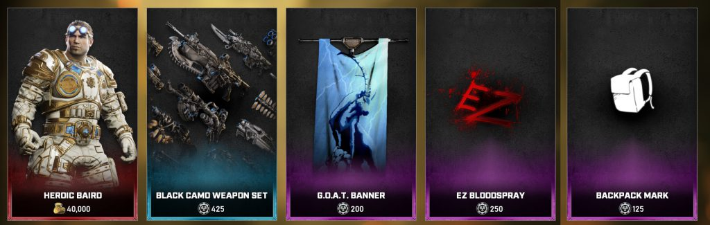 The new items in the Gears store for the days between June 15 - 22