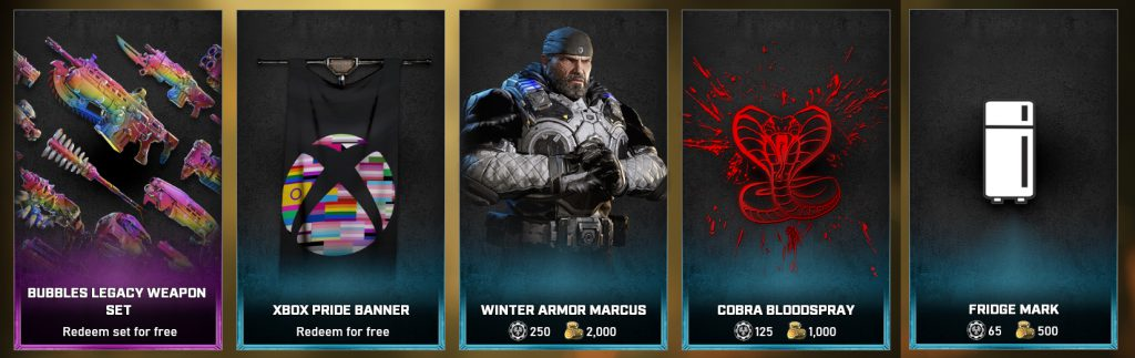 The feature items available in the Gears 5 Store for June 22 until 28
