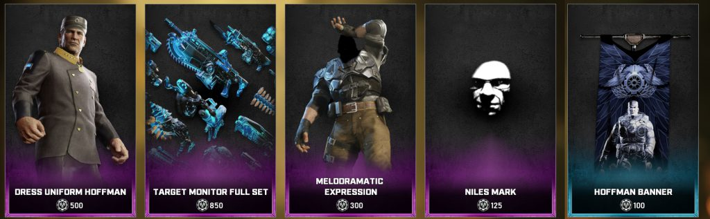 The new items in the Gears store for the days between June 8 and 15