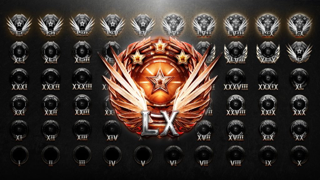 All of the Re-Up level icons from 60 to 1