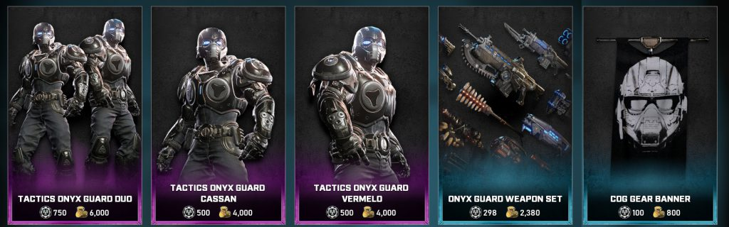 The featured items in the Gears store