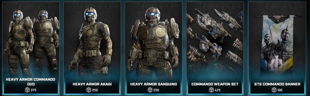 The new items, now available in the Gears 5 store