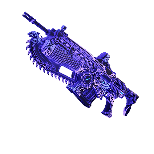 A lancer featuring the Island Glow Indigo weapon skin