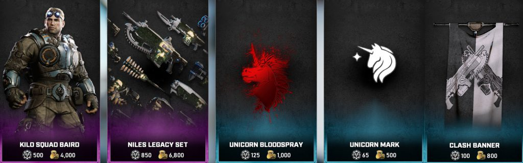 Some of the featured store items available in the Gears 5 Store
