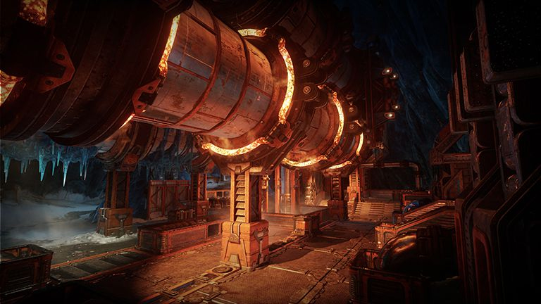 Glowing pipes from a section of a Gears 5 multiplayer map