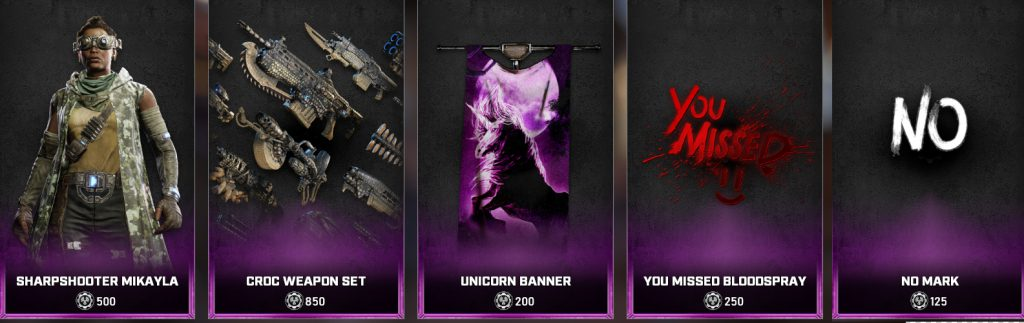 Some of the new store items available in the Gears 5 Store