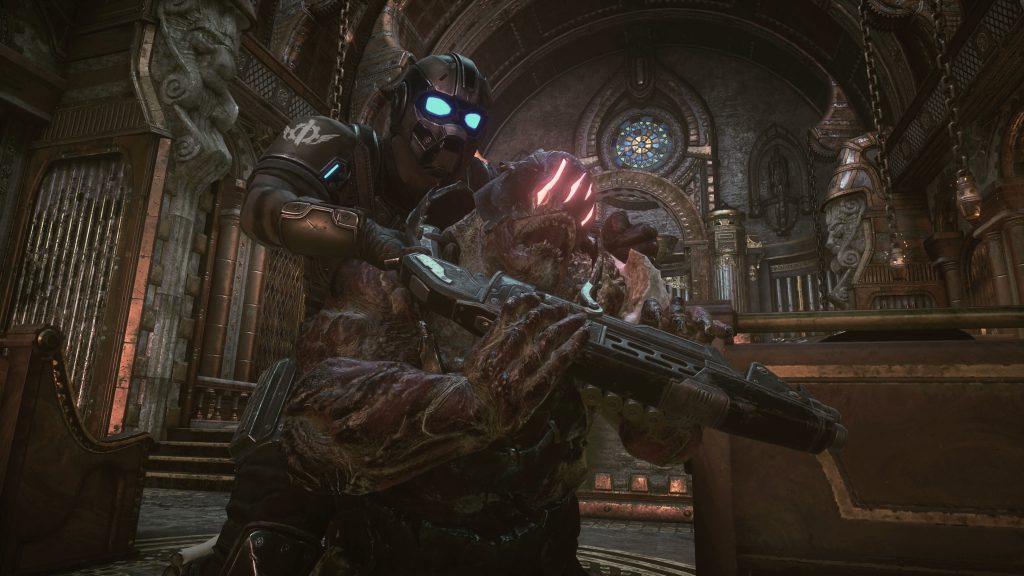 A COG character strangling a Horde enemy inside a church