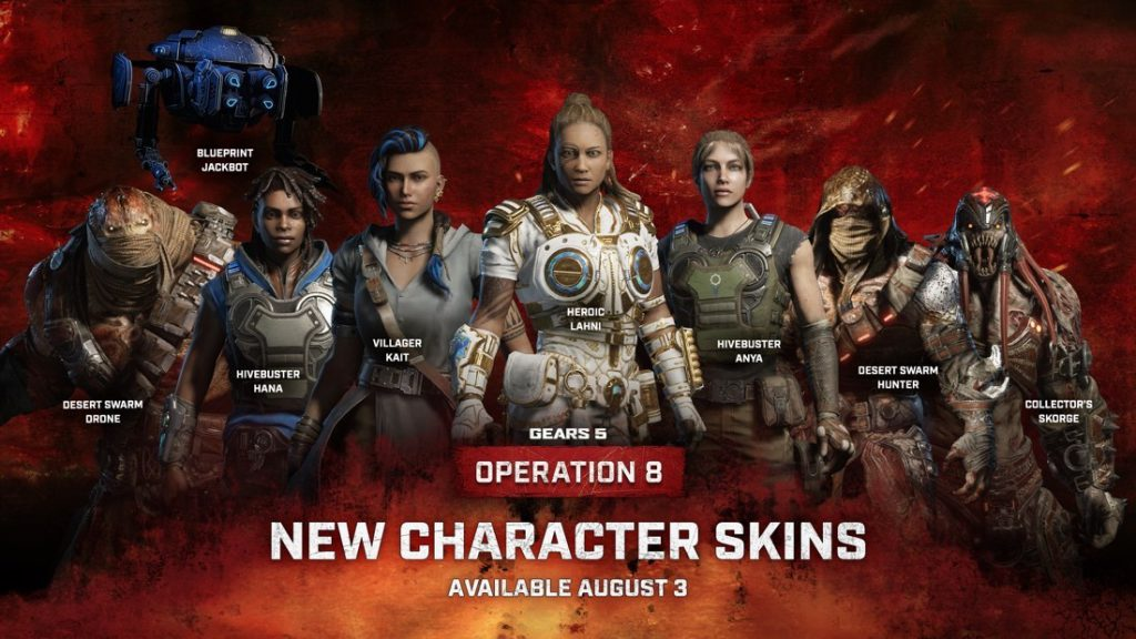 Some of the new character skins coming in Operation 8, including Heroic Lahini, Villager Kait, Hivebuster Anya, and Blueprint Jackbot