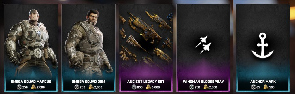 The featured items for the Gears Store