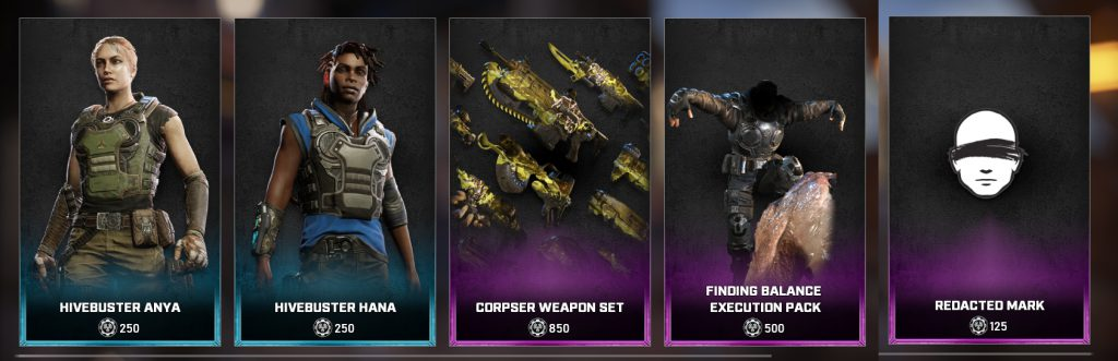 The new store items for the Gears Store