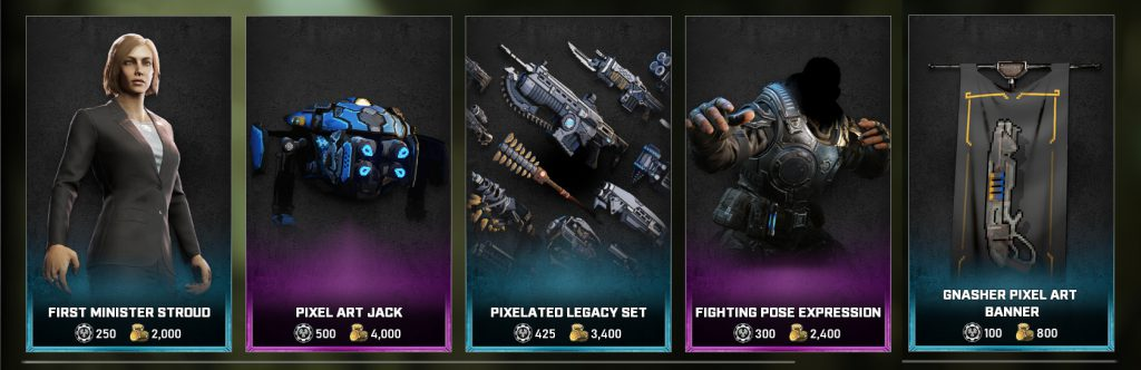 The featured items in the Gears store starting on October 5, 2021